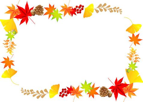 秋の紅葉植物フレーム01