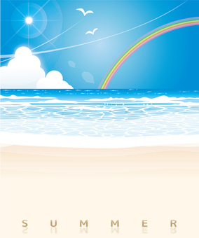 Midsummer beach landscape