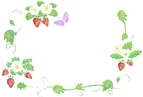 Strawberry watercolor painting, ruled line and icon set