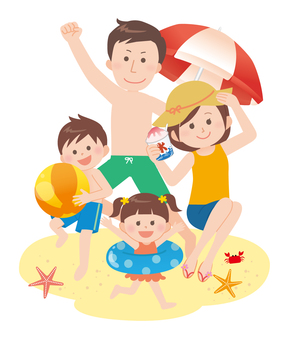 Family (sea bathing) with background 2