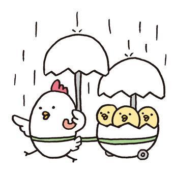 Walk with chicken parent and child umbrella
