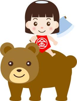Kimitaro riding a bear
