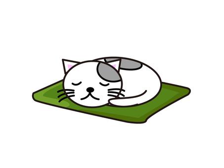 Sleeping cat white 2