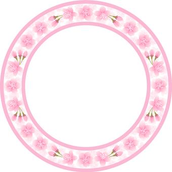 Cherry Blossom Round Frame (Pink)