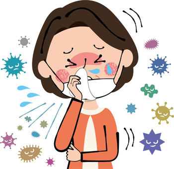 A middle-aged woman coughing with a flu flu mask