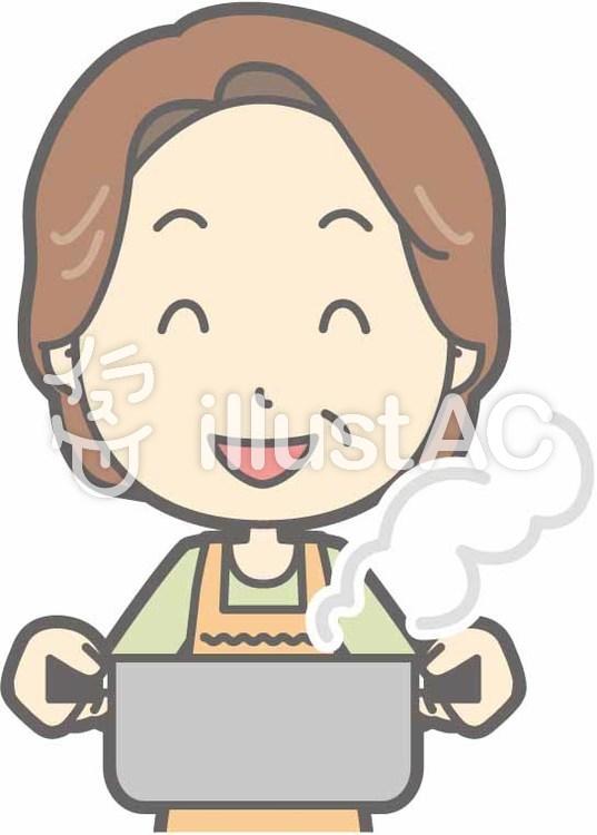 中年主婦a-鍋-バストのイラスト