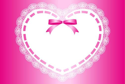 Ribbon & Heart Lace Frame