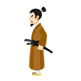 Landscape samurai, tea, whole body