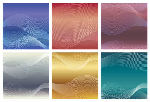 Wave pattern square background set