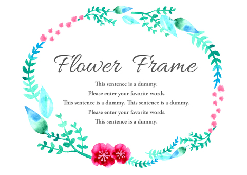 Watercolor material 010 Flower frame