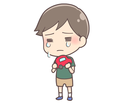 A boy crying with a toy