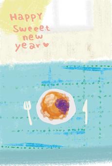 New year's card sweet pancake