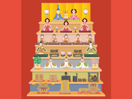 Hina dolls with seven steps