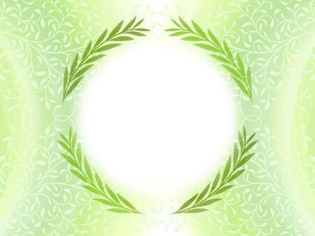 リーフ柄シルエットと緑のフレーム