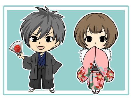 Kimono Men & Chibi Chara characters