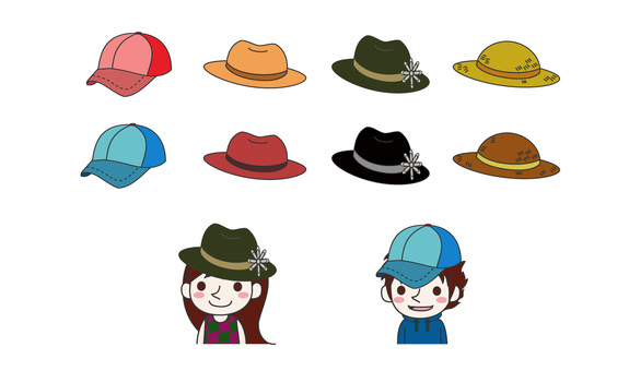Illustrated clothes of various hats