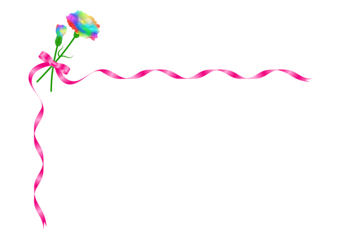Rainbow Carnation and Pink Ribbon