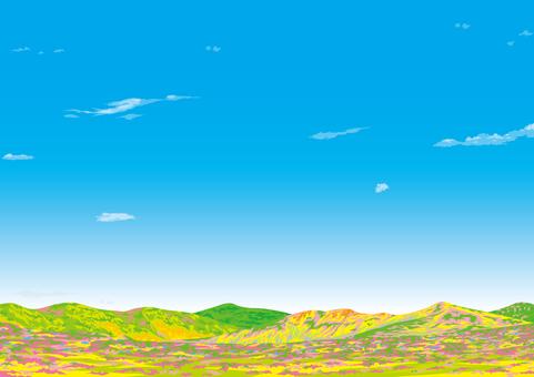 봄의 야산 고원 구릉 벽지 봄 이미지