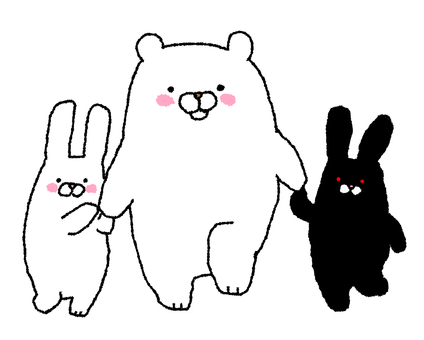 Walk with white bear and rabbits