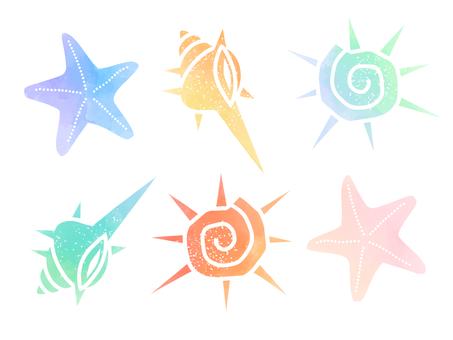 Watercolor material set of shells 02