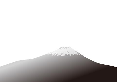初日の出の富士山-白黒透過png
