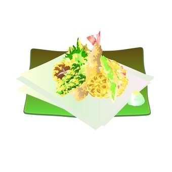 Platter of tempura (green dish)
