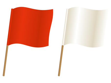 Red flag and white flag