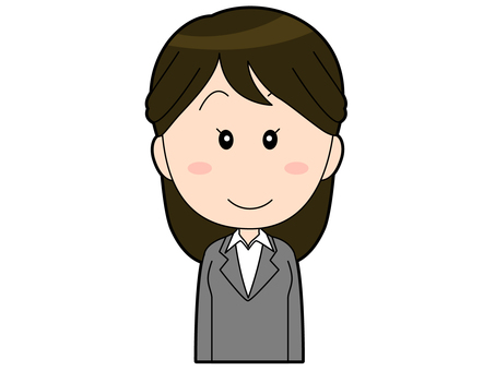 Female office worker in a gray suit _ 001