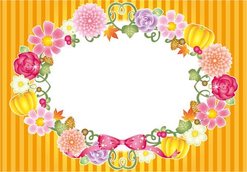 Halloween autumn flower frame