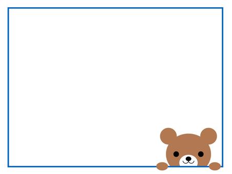 곰 메모 프레임 동물 파랑