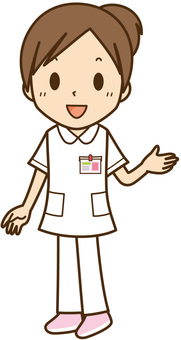 Nurse / medical worker with a smiling white coat: Female