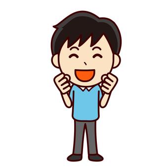Boy cheering