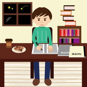 A man facing the desk