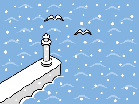 Snow falling on the lighthouse