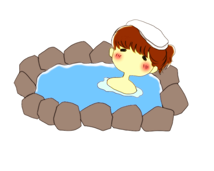 Hot spring and girl