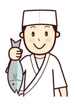 魚を見せる板前さん