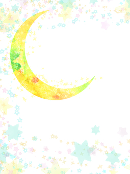 Hand-painted Watercolor Moon and Starry Sky Background Frame Card / Vertical