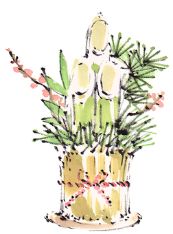 "Kadomatsu ""New Year's cards hand-painted material"""