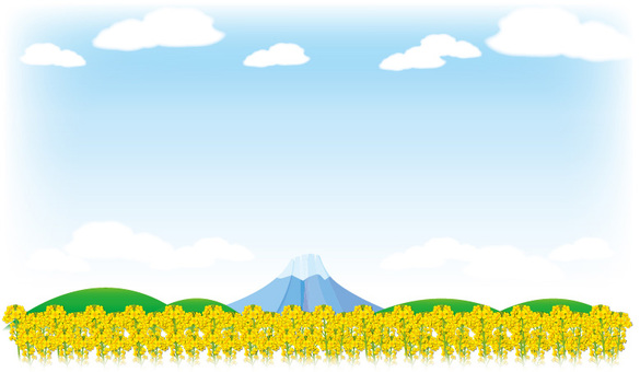 Rape flower field and Fuji-like style frame