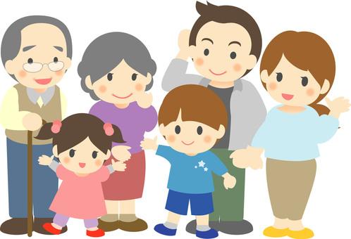 Family three generation illustration