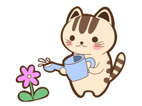 Cat raising water on flowers