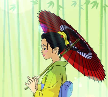Image of a woman holding a Japanese umbrella - 00