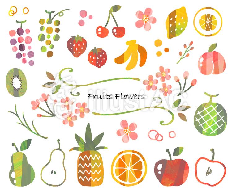 果物と花のイラスト