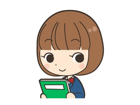 本を持つ女子学生上半身
