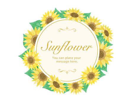 Sunflower round frame / transparent