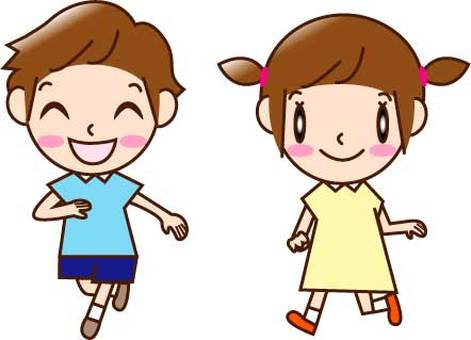 Running boy and girl (2 people)