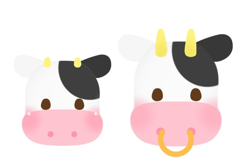 Cattle parent and child (face)
