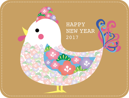Floral chicken illustrations for New Year's cards
