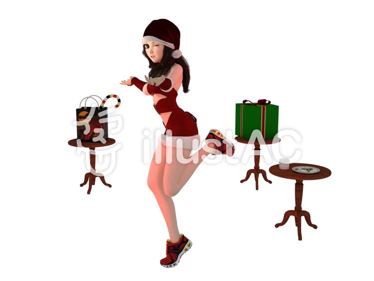 女の子サンタのディナーショーのイラスト