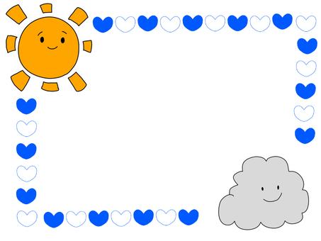 태양과 구름과 하트 프레임